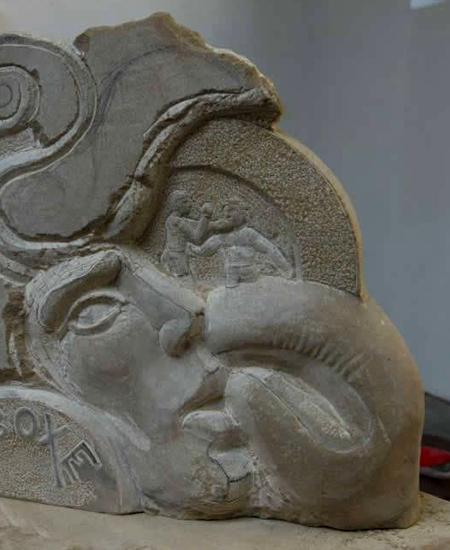 Trophée en pierre par l'artiste sculpteur yannick robert.